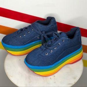 NEW Jeffrey Campbell brainy rainbow platforms